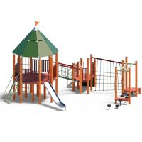 Large castle and slide from Moduplay's range of wood playground systems