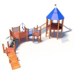 Play system with ramps, tower and a slide from Moduplay's range of wood playground systems