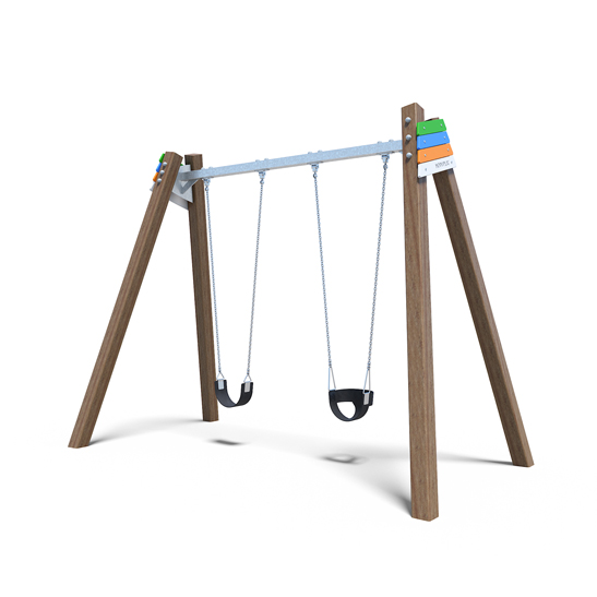 Belt swing and toddler bucket swing set from Moduplay's range of playground swings