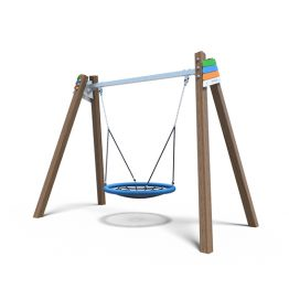 Nest swing with timber A-frame from Moduplay's range of playground swings