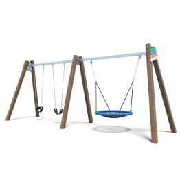 Premium Timber Panel Combo 3 Seater Nest Swing