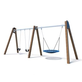 Combination of swings from Moduplay's range of timber playground swings