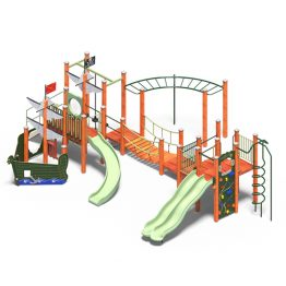 A ship themed playground system with slides, from Moduplay.