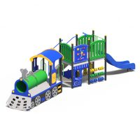 Train themed play system with slide from Moduplay's range of themed playground equipment