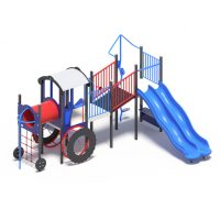 Train themed playground system with a double slide from Moduplay