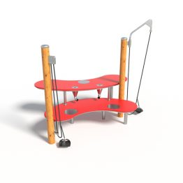 A play bench with pulleys from Moduplay's sand and water play equipment range